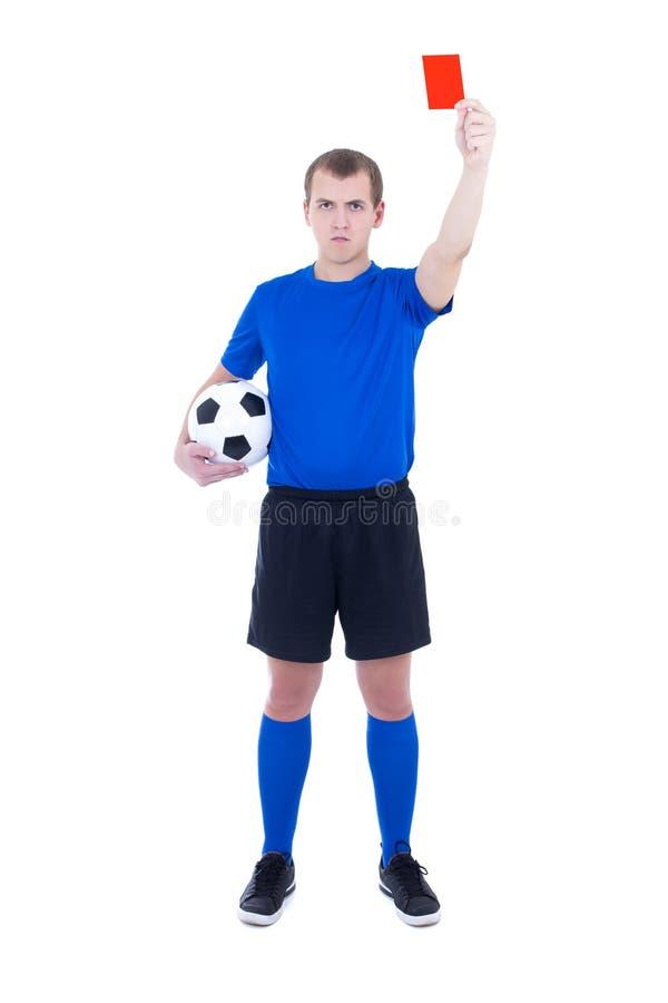 Διαιτητής ποδοσφαίρου κόκκινη κάρτα που απομονώνεται που παρουσιάζει στο λευκό στοκ φωτογραφία με δικαίωμα ελεύθερης χρήσης