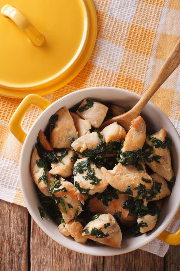 Διαιτητικά τρόφιμα: Στήθος κοτόπουλου που σιγοψήνεται με το σπανάκι σε μια κατσαρόλλα στοκ εικόνα με δικαίωμα ελεύθερης χρήσης