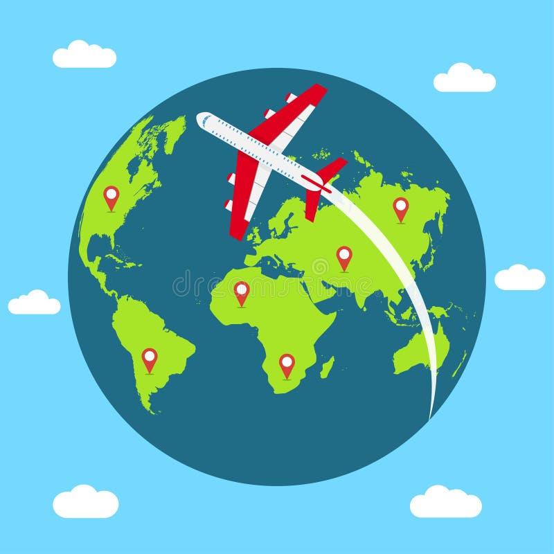 Διακινούμενη έννοια σε όλο τον κόσμο Έμβλημα με τη γήινη σφαίρα, το πετώντας αεροπλάνο και τη χαρτογράφηση των καρφιτσών διάνυσμα ελεύθερη απεικόνιση δικαιώματος