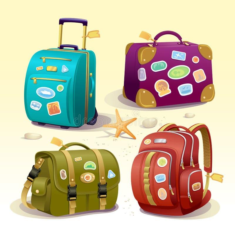 Διακινούμενη απεικόνιση εικονιδίων με τις βαλίτσες, την τσάντα και το σακίδιο πλάτης διανυσματική απεικόνιση