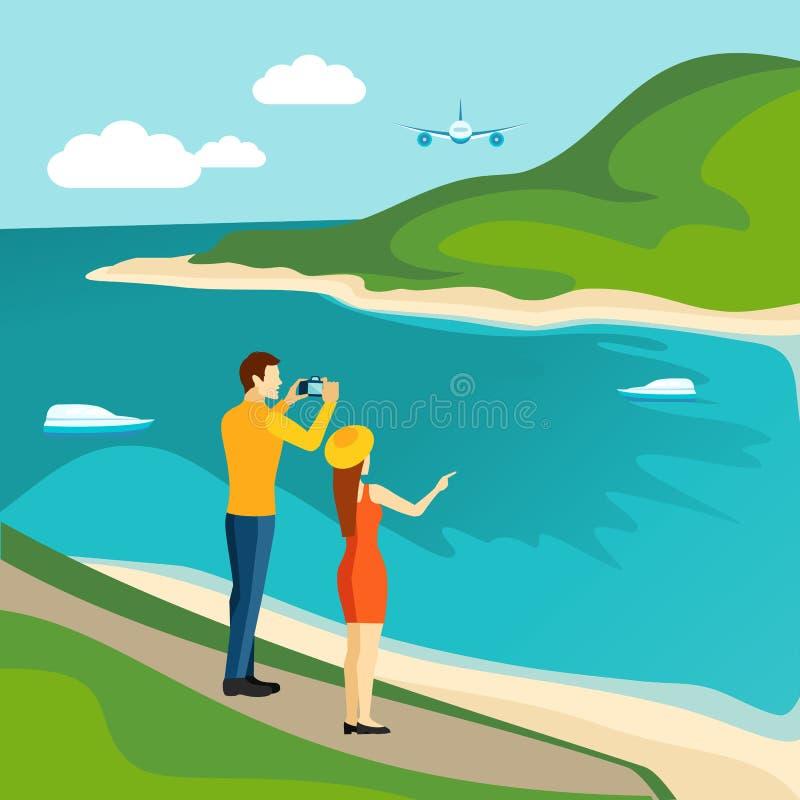 Διακινούμενη αφίσα επίσκεψης χωρών τουρισμού διανυσματική απεικόνιση