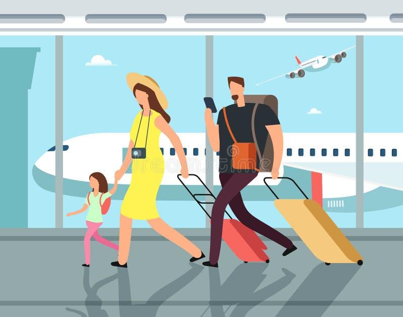 Διακινούμενη οικογένεια με τις αποσκευές στο τερματικό airpor Άνθρωποι στη διανυσματική έννοια κινούμενων σχεδίων διακοπών διανυσματική απεικόνιση