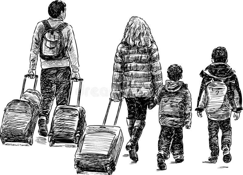 Διακινούμενη οικογένεια ελεύθερη απεικόνιση δικαιώματος
