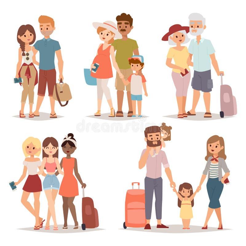Διακινούμενοι άνθρωποι οικογενειακής ομάδας στην επίπεδη διανυσματική απεικόνιση χαρακτήρα διακοπών μαζί ελεύθερη απεικόνιση δικαιώματος