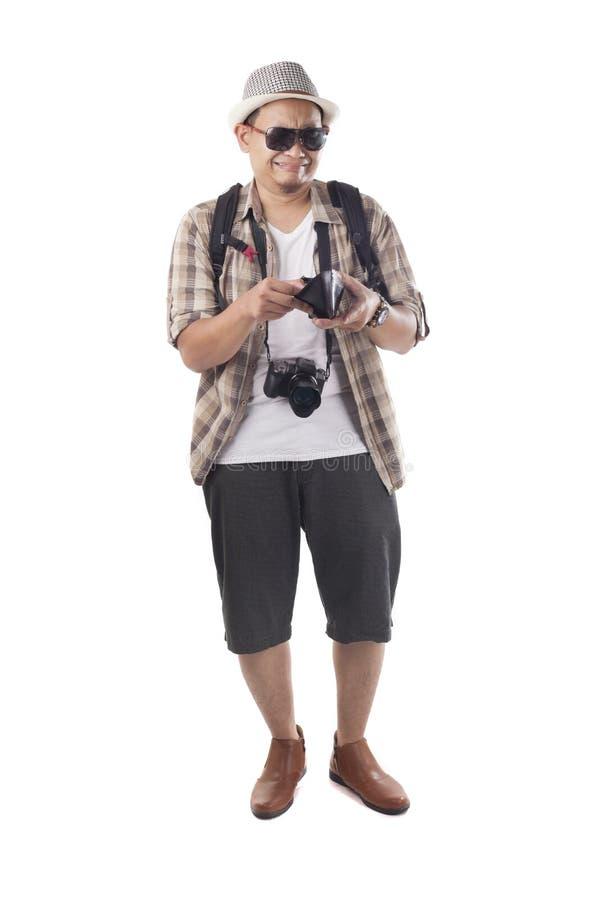Διακινούμενοι άνθρωποι που απομονώνονται στο λευκό Αρσενικός τουρίστας Brok Backpacker στοκ εικόνες με δικαίωμα ελεύθερης χρήσης