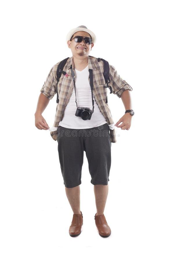 Διακινούμενοι άνθρωποι που απομονώνονται στο λευκό Αρσενικός τουρίστας Brok Backpacker στοκ εικόνες