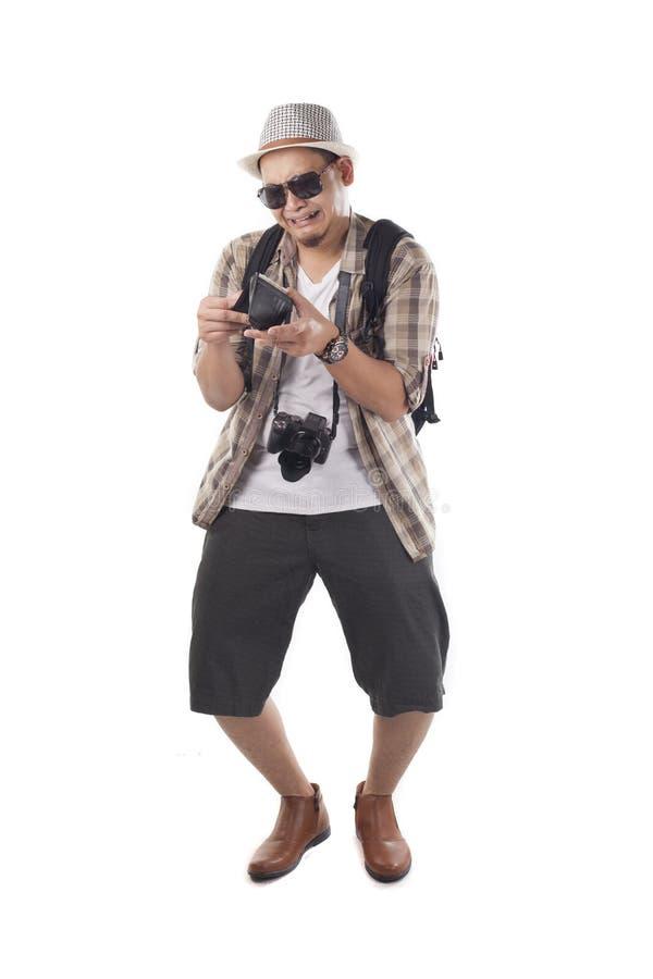Διακινούμενοι άνθρωποι που απομονώνονται στο λευκό Αρσενικός τουρίστας Brok Backpacker στοκ φωτογραφία με δικαίωμα ελεύθερης χρήσης