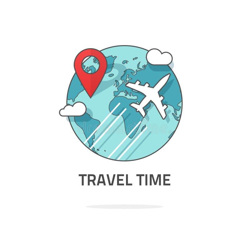Διακινούμενος από την έννοια αεροπλάνων, το ταξίδι και το λογότυπο παγκόσμιου ταξιδιού, ταξίδι ελεύθερη απεικόνιση δικαιώματος