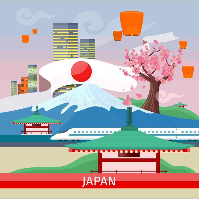 Διακινούμενο έμβλημα της Ιαπωνίας ιαπωνικά ορόσημα διανυσματική απεικόνιση