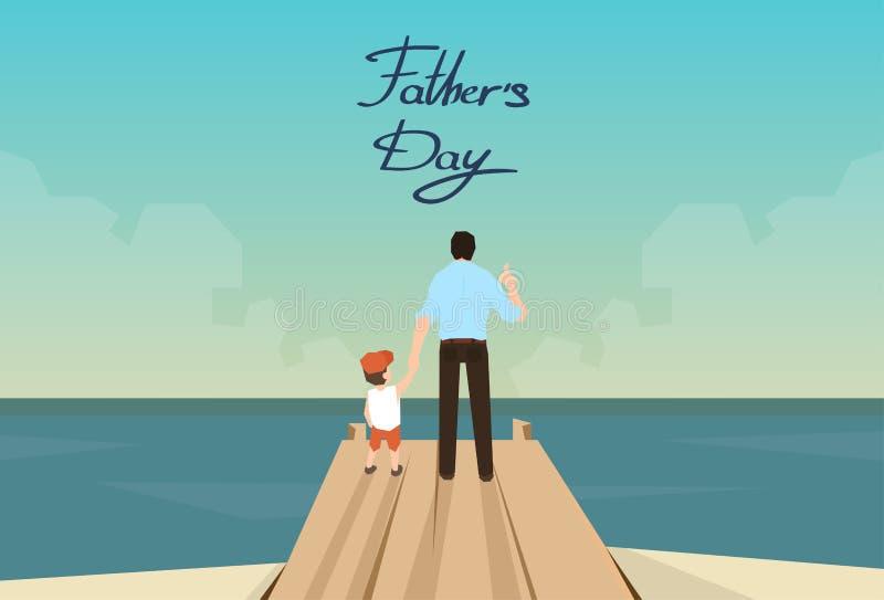 Διακοπές ημέρας πατέρων ατόμων και γιων που στέκονται στην ξύλινη αποβάθρα ελεύθερη απεικόνιση δικαιώματος