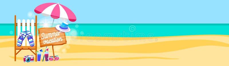 Διακοπές καθορισμένο Sunbed θερινών παραλιών με το τροπικό διάστημα αντιγράφων εμβλημάτων άμμου ομπρελών ελεύθερη απεικόνιση δικαιώματος