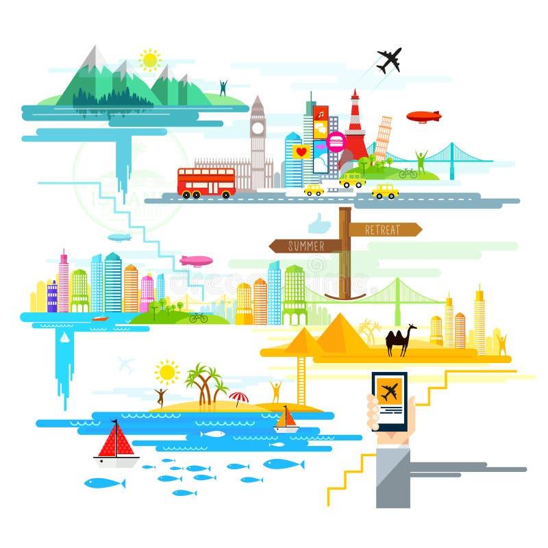 Διακοπές και ταξίδια στο εξωτερικό! διανυσματική απεικόνιση