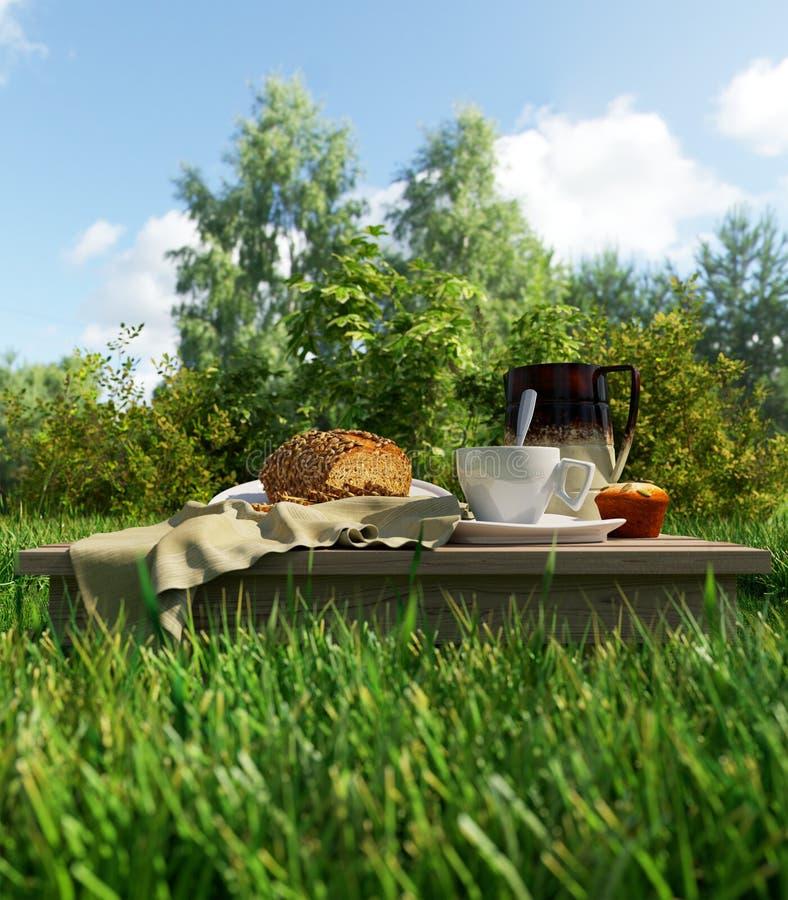 Διακοπές πικ-νίκ φλυτζανιών και ψωμιού καφέ που χαλαρώνουν stilllife στοκ εικόνες