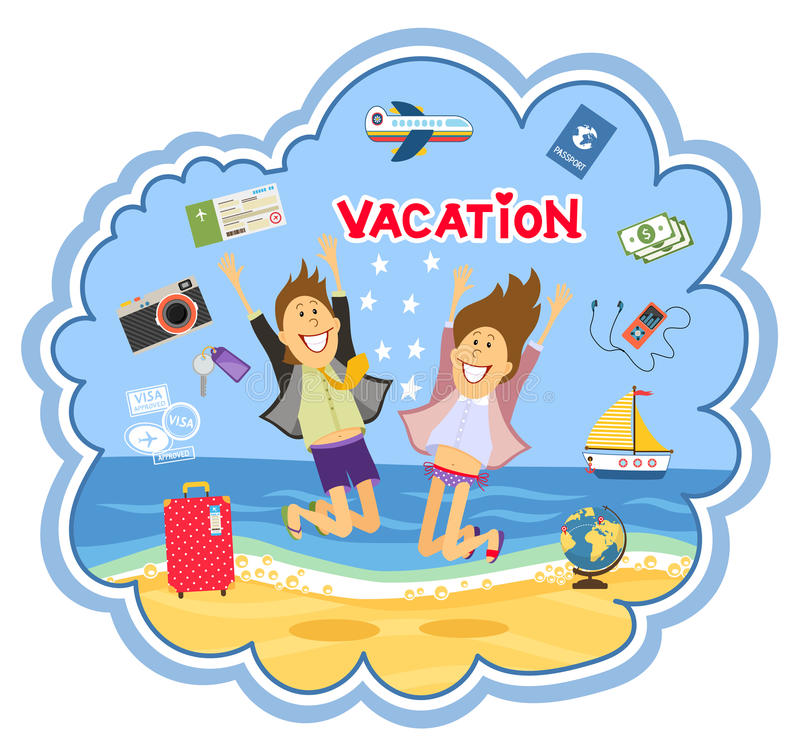 Διακοπές στη διανυσματική απεικόνιση παραλιών απεικόνιση αποθεμάτων