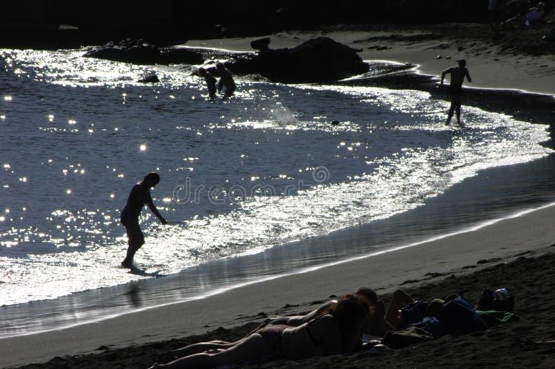 Διακοπές στις όμορφες μαύρες παραλίες στο Λα Palma στοκ φωτογραφία