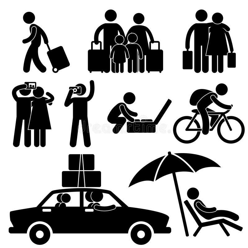 διακοπές ταξιδιού ταξιδιού οικογενειακών τουριστών απεικόνιση αποθεμάτων