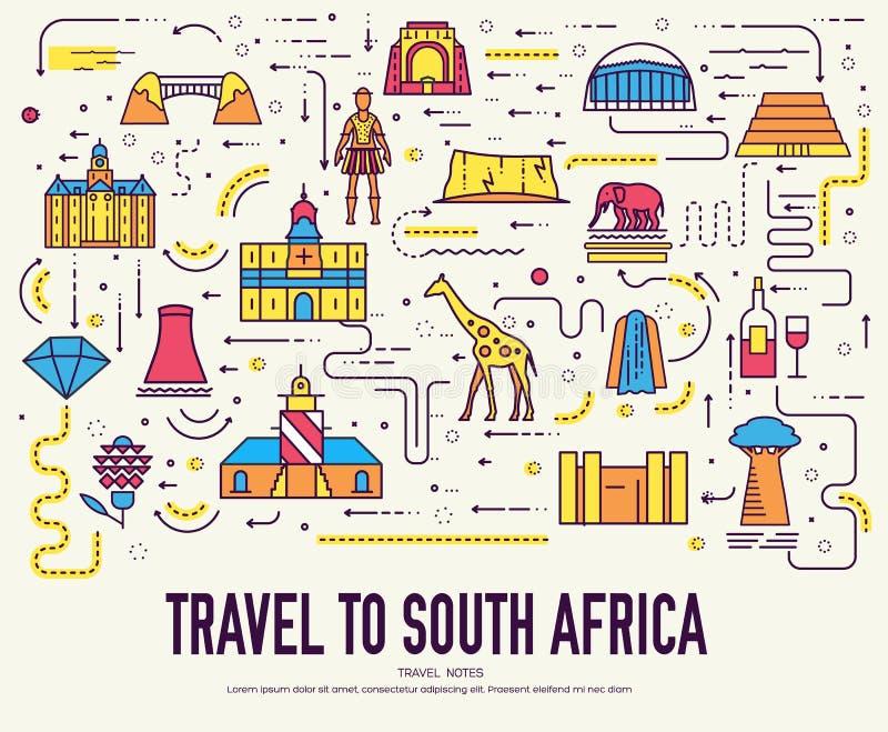 Διακοπές ταξιδιού της Νότιας Αφρικής χώρας της θέσης και του χαρακτηριστικού γνωρίσματος Σύνολο αρχιτεκτονικής, μόδα, άνθρωποι, σ διανυσματική απεικόνιση