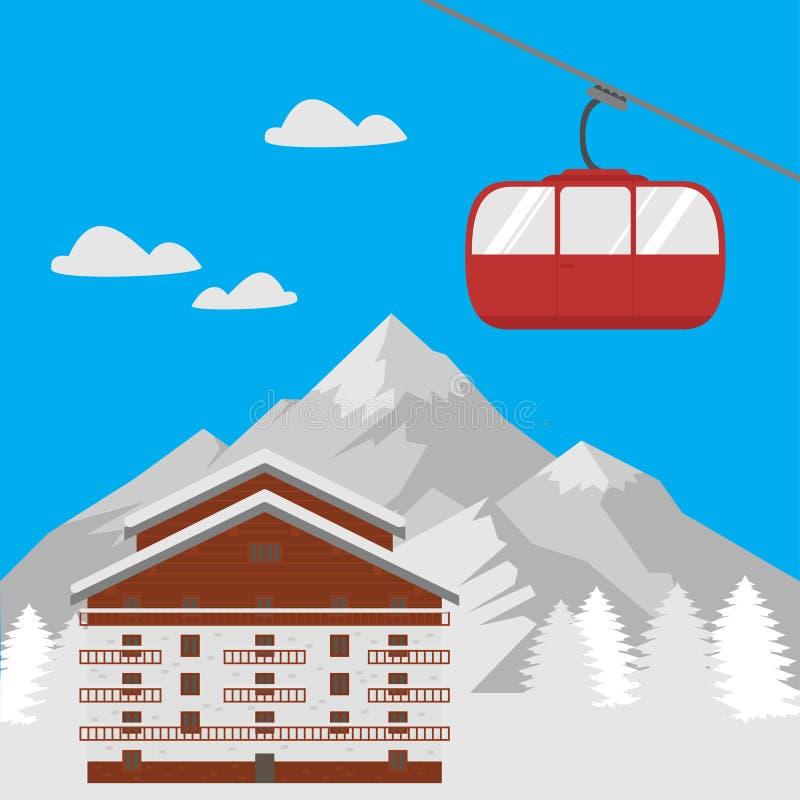 Διακοπές χιονοδρομικών κέντρων, σπίτι βουνών χειμερινών ξενοδοχείων Χωριό τοπίων με το εξοχικό σπίτι για το ταξίδι με σκοπό τις δ διανυσματική απεικόνιση