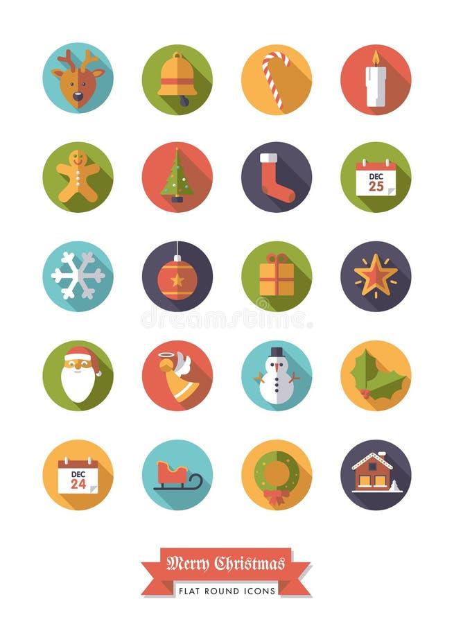 Διακοπές Χριστουγέννων γύρω από το επίπεδο σύνολο εικονιδίων σχεδίου διανυσματική απεικόνιση