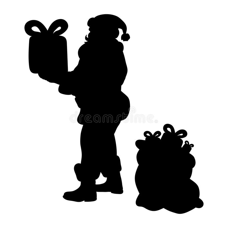 Διακοπές Χριστουγέννων σκιαγραφιών Άγιου Βασίλη απεικόνιση αποθεμάτων