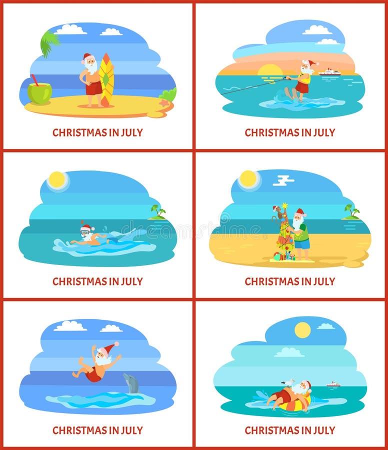 Διακοπές Χριστουγέννων το καλοκαίρι, Άγιος Βασίλης στην παραλία διανυσματική απεικόνιση