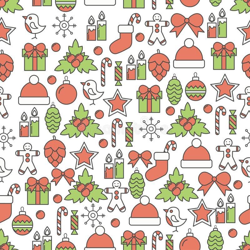 Διακοπές Χριστούγεννα και νέο σχέδιο γραμμών έτους άνευ ραφής Διανυσματική απεικόνιση του τυλίγοντας εγγράφου στο γραμμικό σχέδιο διανυσματική απεικόνιση