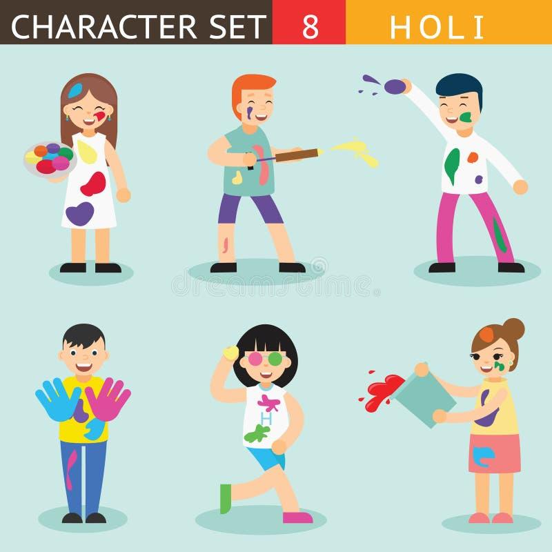 Διακοπών περιόδου χρωμάτων Holi ανθρώπων ευτυχής χαρακτήρων εικονιδίων καθορισμένη συμβόλων έννοια σχεδίου εξαρτημάτων μοντέρνη α ελεύθερη απεικόνιση δικαιώματος