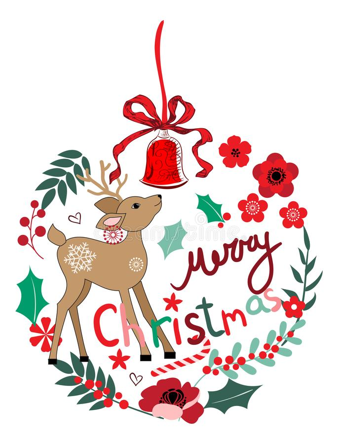 Διακοσμήσεις και ελάφια Χριστουγέννων απεικόνιση αποθεμάτων