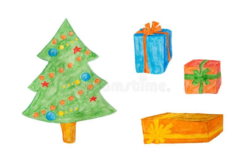 Διακοσμήσεις καλής χρονιάς ή Χριστουγέννων - δέντρο και κιβώτιο δώρων, ζωγραφική watercolor απεικόνιση αποθεμάτων