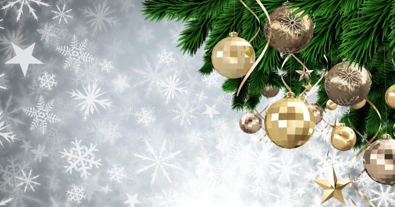 Διακοσμήσεις μπιχλιμπιδιών Χριστουγέννων και Snowflake σχέδιο Χριστουγέννων διανυσματική απεικόνιση