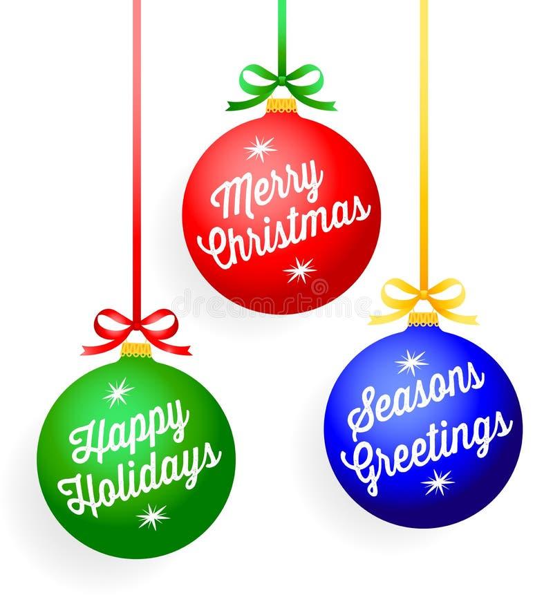Διακοσμήσεις χαιρετισμού Χριστουγέννων διανυσματική απεικόνιση