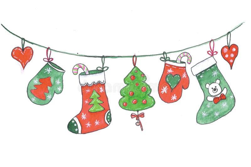 Διακοσμήσεις Χαρούμενα Χριστούγεννας που κρεμούν σε ένα σχοινί, που σύρει στο watercolor στοκ φωτογραφία με δικαίωμα ελεύθερης χρήσης