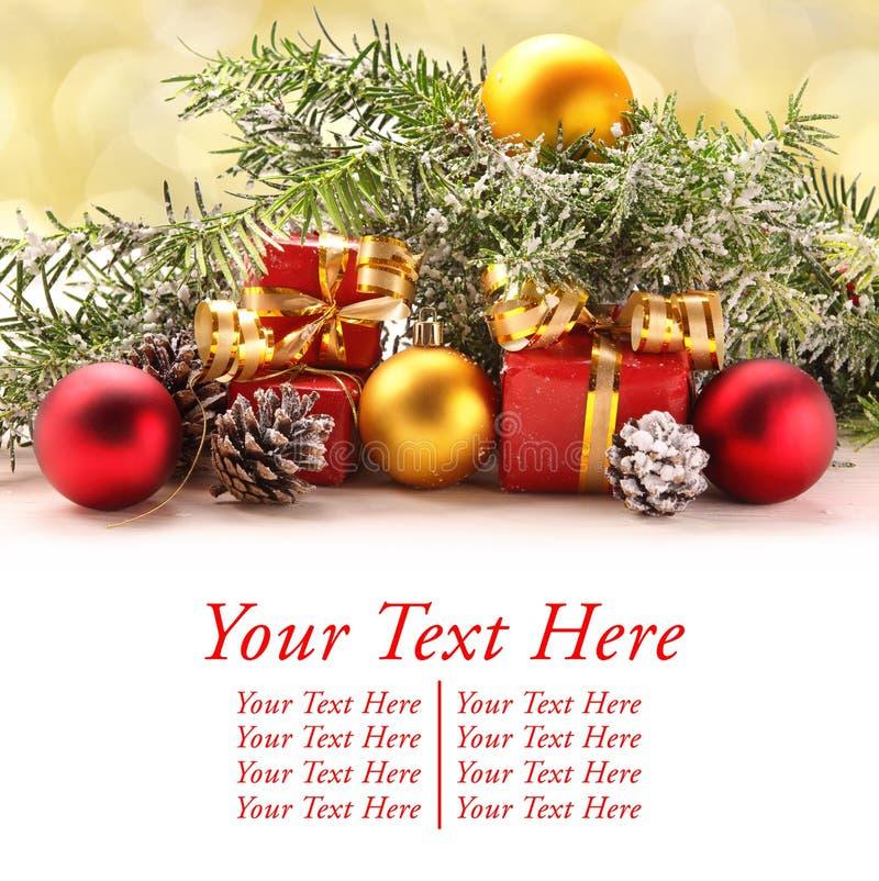 Διακοσμήσεις Χριστουγέννων με το διάστημα για το κείμενο στοκ φωτογραφία με δικαίωμα ελεύθερης χρήσης