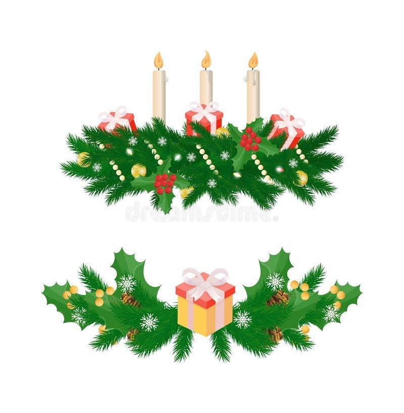 Διακοσμήσεις Χριστουγέννων με τρία καίγοντας κεριά ελεύθερη απεικόνιση δικαιώματος