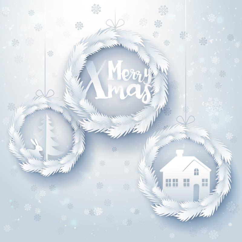 Διακοσμήσεις Χριστουγέννων τέχνης εγγράφου διανυσματική απεικόνιση
