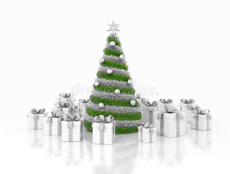 Διακοσμημένα χριστουγεννιάτικο δέντρο και δώρα στοκ εικόνες με δικαίωμα ελεύθερης χρήσης