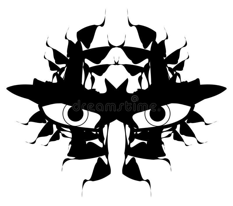 Διακοσμημένη δερματοστιξία ματιών στο Μαύρο που απομονώνεται διανυσματική απεικόνιση