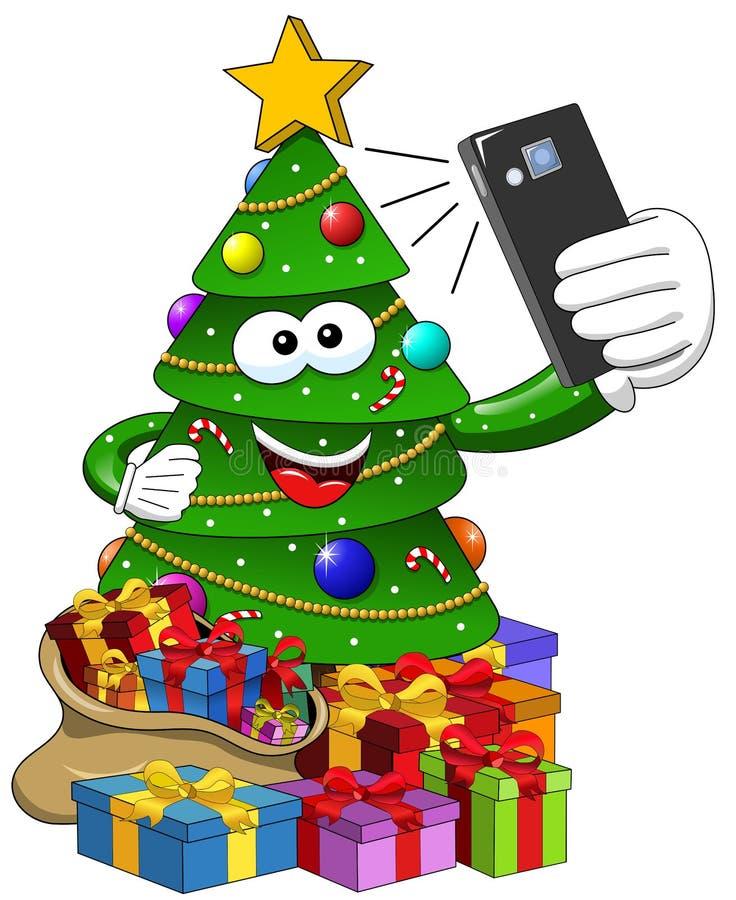Διακοσμημένη κινούμενα σχέδια λήψη χριστουγεννιάτικων δέντρων selfie που απομονώνεται απεικόνιση αποθεμάτων