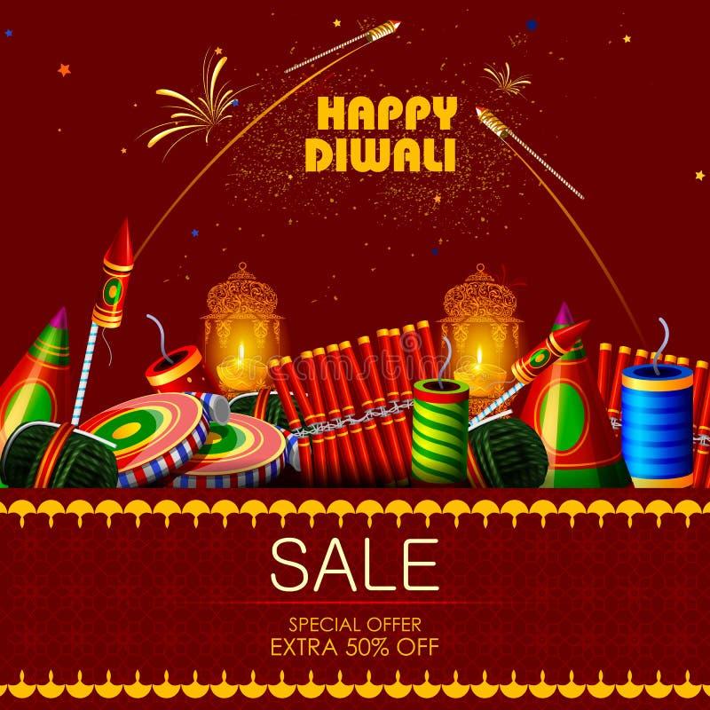 Διακοσμημένη κροτίδα για το ευτυχές υπόβαθρο προσφοράς πώλησης αγορών διακοπών Diwali διανυσματική απεικόνιση