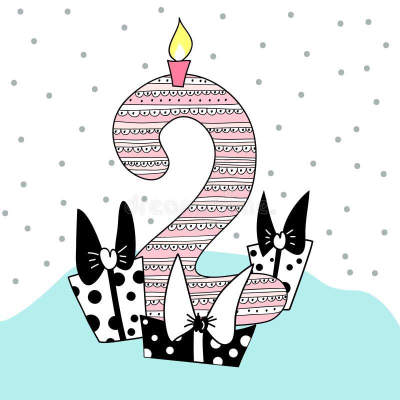 Διακοσμημένος αριθμός δύο για την κάρτα γενεθλίων ελεύθερη απεικόνιση δικαιώματος