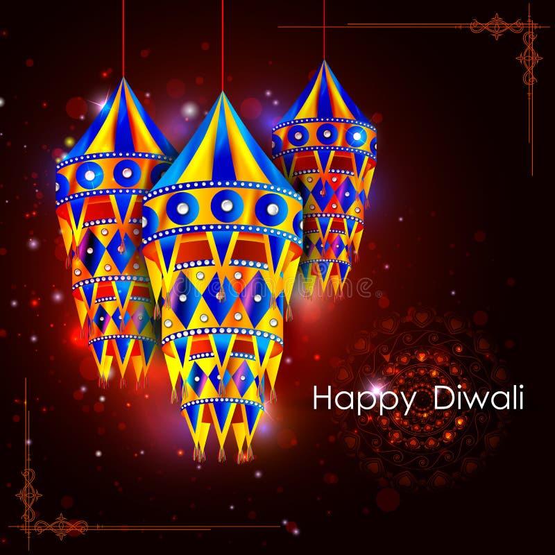 Διακοσμημένος κρεμώντας λαμπτήρας για τον ευτυχή εορτασμό διακοπών φεστιβάλ Diwali του υποβάθρου χαιρετισμού της Ινδίας απεικόνιση αποθεμάτων
