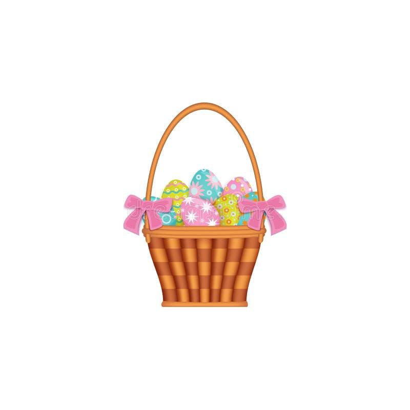 Διακοσμημένο κορδέλλα καλάθι με τα χρωματισμένα αυγά Πάσχας απεικόνιση αποθεμάτων