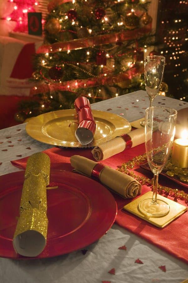 Διακοσμημένο πίνακας γεύμα ημέρας των Χριστουγέννων στοκ φωτογραφίες με δικαίωμα ελεύθερης χρήσης