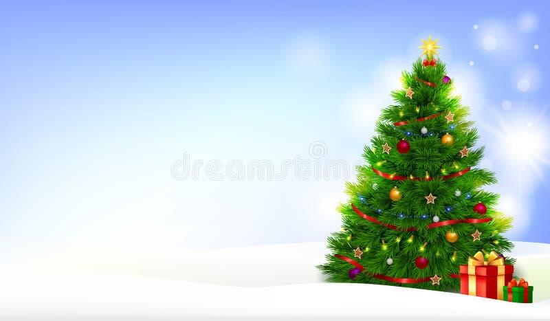 Διακοσμημένο χριστουγεννιάτικο δέντρο με τα παρόντα κιβώτια σε ένα τοπίο χιονιού διανυσματική απεικόνιση