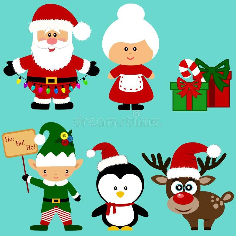 διακοσμημένο Χριστούγεννα δέντρο εικονιδίων γουνών Συλλογή santa νέο έτος σύμβολο διανυσματική απεικόνιση
