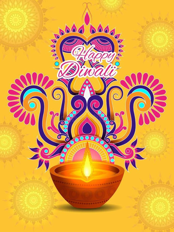 Διακοσμημένο Diya για τον ευτυχή εορτασμό διακοπών φεστιβάλ Diwali του υποβάθρου χαιρετισμού της Ινδίας διανυσματική απεικόνιση