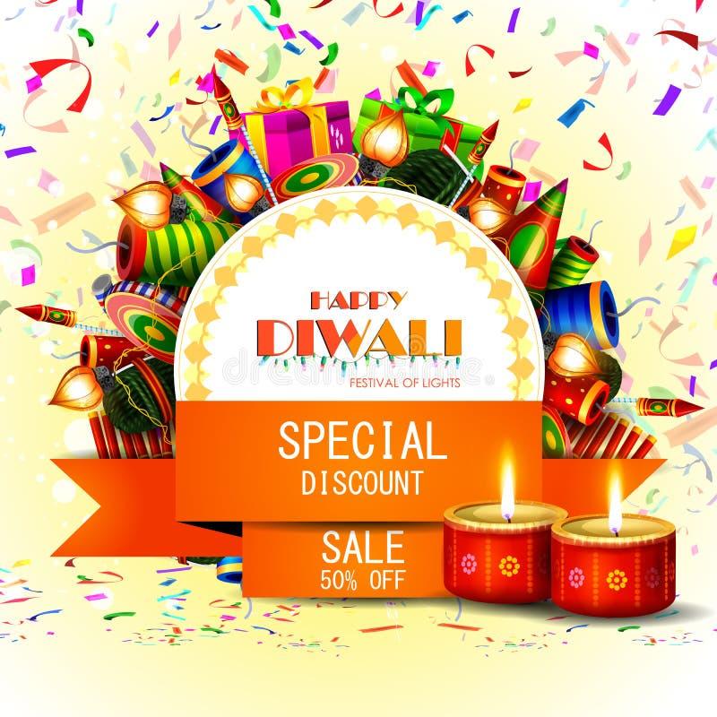 Διακοσμημένο diya με την κροτίδα για το ευτυχές υπόβαθρο προσφοράς πώλησης αγορών διακοπών Diwali διανυσματική απεικόνιση