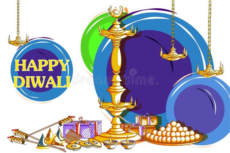 Διακοσμημένο diya με την κροτίδα για το ευτυχές υπόβαθρο διακοπών Diwali διανυσματική απεικόνιση