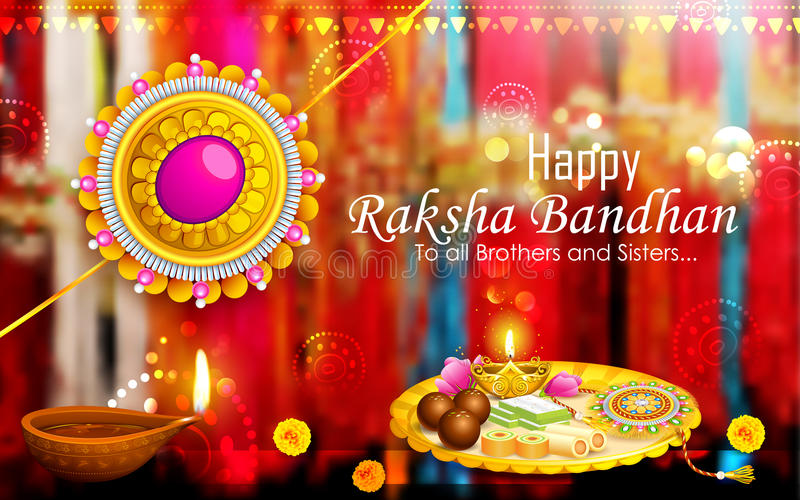 Διακοσμημένο thali puja με το rakhi για Raksha Bandhan διανυσματική απεικόνιση