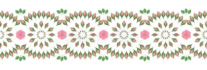 Διακοσμητικά άνευ ραφής λωρίδα/σύνορα με το λαϊκό σχέδιο λουλουδιών απεικόνιση αποθεμάτων